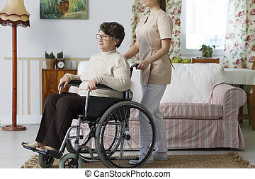 年長者, 在, a, 輪椅