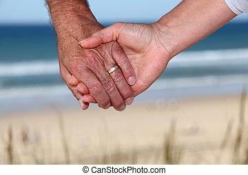 年長者, 夫婦, 藏品, 手