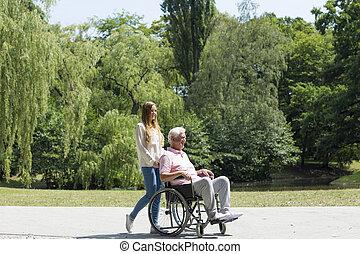 年長者, 女の子, 公園, 若者