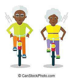 年長者, 自転車, 黒, 人々