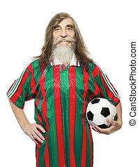 年長者, 足球, 運動, activity., 老人, 足球迷, 由于, 球