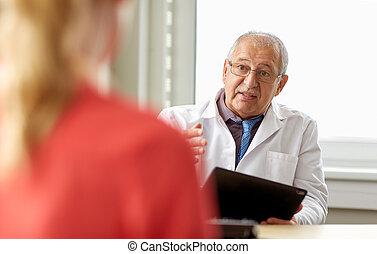 年長者, 醫生和病人, 在, 婦女健康, 門診部