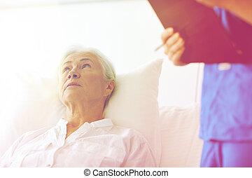 年長者, 醫院, 婦女, 病人, 護士
