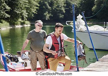 年長 人, ボート, 息子