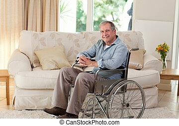 年長 人, 彼の, 車椅子