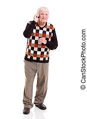 年長 人, 話し続けている携帯電話