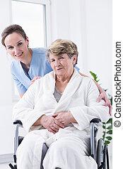 年長, 婦女, 上, a, 輪椅