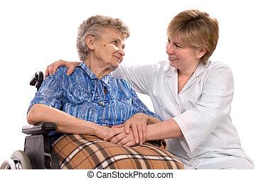 年长的妇女, 在中, 轮椅