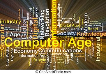 年齡, 概念, 電腦, 發光, 背景
