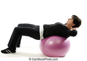 年齢, 中央, 核心, ボール, 訓練, 年長の 女性, フィットネス, 腹部の行使, 坐持ち上げる, 緊張状態