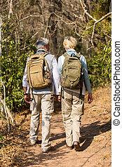 年齢, 恋人, 中央の, ハイキング, 森林