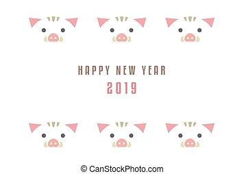 年, の, ∥, 雄豚, 新年, カード, ∥ために∥, 2019