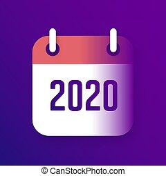 年, カレンダー, アイコン, ベクトル, 2020, 新しい