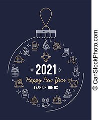 年, クリスマス, 新しい, 2021, アイコン, 葉書