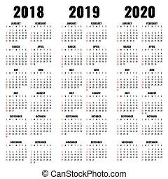 年, ベクトル, 2020, テンプレート, 2019, カレンダー, 2018