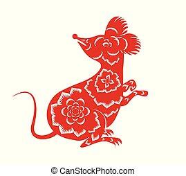 年, 幸せ, 新しい, マウス, 2020, 中国語, ネズミ