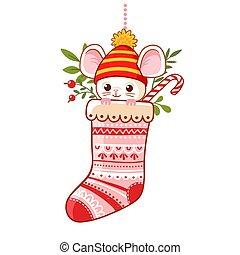 年, 挨拶, クリスマス, かわいい, 新しい, わずかしか, 伝統的である, card., マウス, ソックス, 内側。