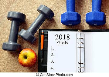 年, 新しい, 健康, resolutions, 2018.