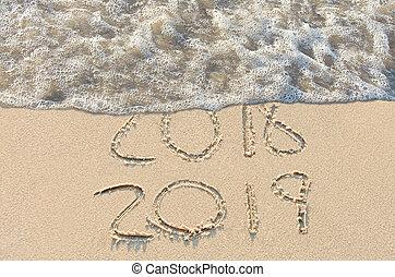 年, 新しい, 印, 2019, 浜