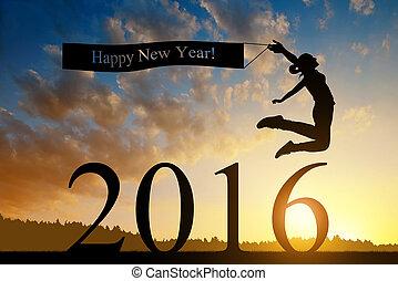 年, 新しい, 女の子, ジャンプする, 2016