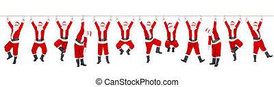 年, 新しい, santa, 12, クリスマス, clauses, ロープ, 概念