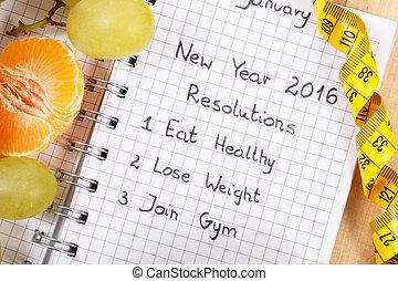 年, 書かれた, ノート, 巻き尺, 新しい, resolutions