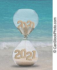 年, 浜, トロピカル, 砂, 砂時計, 新しい, 2021, 背景
