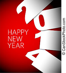 年, 矢量, 红, 新, 2014, 白色, 卡片, 开心