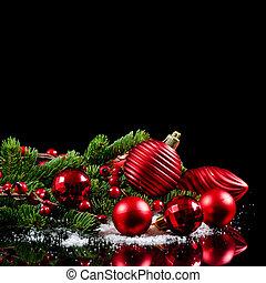 年, 黒, ボーダー, クリスマス, 新しい