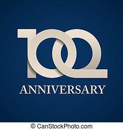 年, 100, ペーパー, 数, 記念日