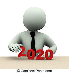 年, 3d, 人, ビジネス, 2020