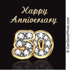 年, birthday, 記念日, 50