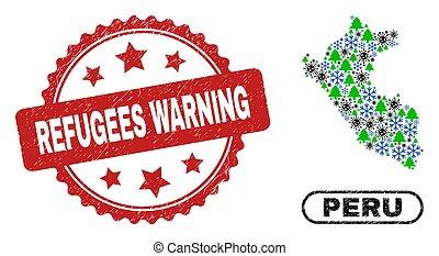 年, refugees, 構成, 傷付けられる, シール, coronavirus, 新しい, 警告, 切手, ペルー, 地図