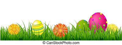 幸せなイースター, ボーダー, ∥で∥, 草, そして, 卵