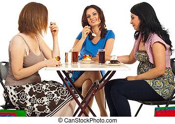 幸せな女性たち, 食べること, ケーキ, テーブル