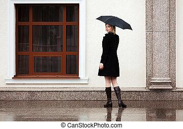 幸せな女性, ∥で∥, 傘, 雨