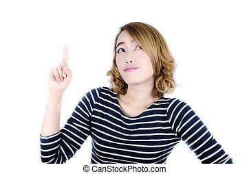 幸せな女性, ∥で∥, 指, ポイント, の上