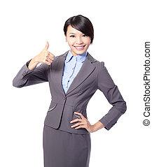 幸せな女性, の上, ビジネス, 親指