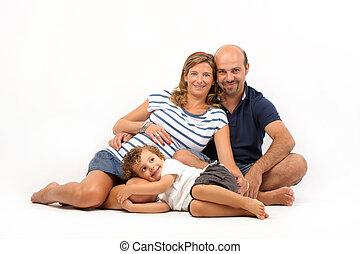 幸せな女性, 一緒に, 家族, 妊娠した
