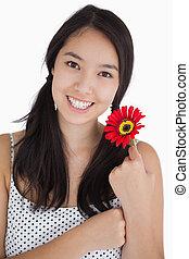 幸せな女性, 保有物, a, 花