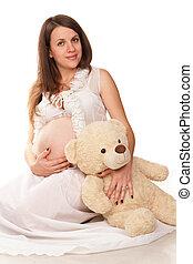 幸せな女性, 妊娠した