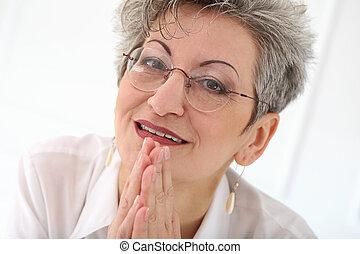 幸せな女性, 年配, 顔