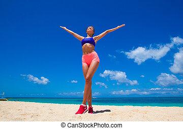 幸せな女性, 浜, フィットネス