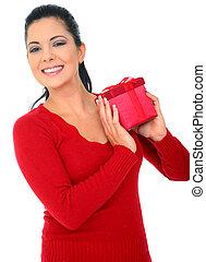 幸せな女性, 若い, 贈り物, 保有物