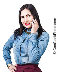 幸せな女性, 話す, 電話
