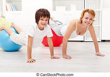 幸せな女性, 運動, 彼女, 息子