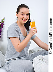 幸せな女性, 飲みなさい, オレンジジュース