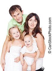 幸せな家族, ∥で∥, 子供, 隔離された, 白, 背景