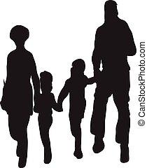 幸せな家族, シルエット, ベクトル