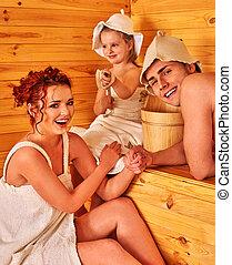 幸せな家族, 中に, 帽子, ∥において∥, sauna.